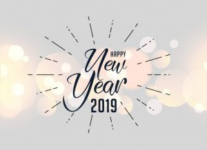 Happy new year 2019 holiday greeting background Free Vector