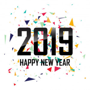 Happy New Year 2019 with confetti colorful background Free Vector