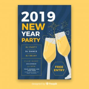 Toast new year poster template Free Vector