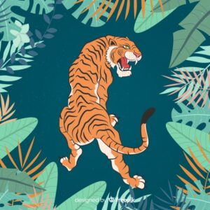 Aggressive tiger Free Vector