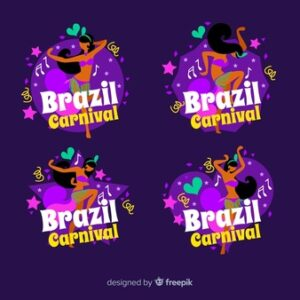 Brazilian carnival logo collection Free Vector
