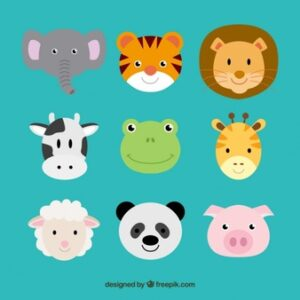 Cute animal heads Free Vector