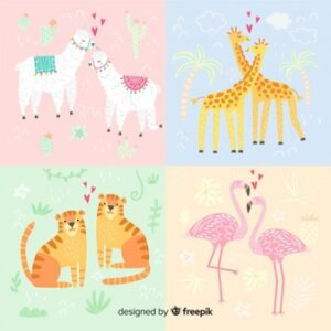 Valentine's day animal couple pack Free Vector