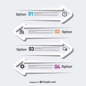 White arrows infographic Free Vector