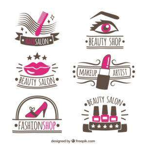 Collection of hand-drawn logos for beauty salon Free Vector