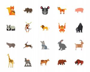 Animals icon set Free Vector