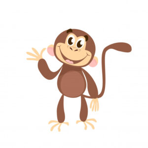 Cheerful monkey waving hand Free Vector