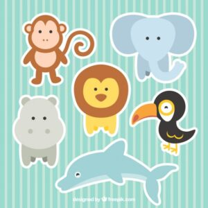 Cute zoo animals collection Free Vector