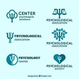 Logos for psychological centers in blue tones Free Vector
