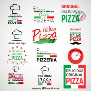 Pizzeria logos set Free Vector