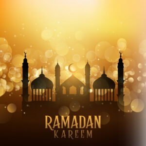 Ramadan kareem background with mosques on bokeh lights Free Vector