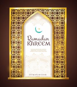 Ramadan kareem golden frame traditional ornament Free Vector