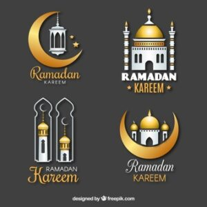 Set of ramadan badges in realistic style Free Vector
