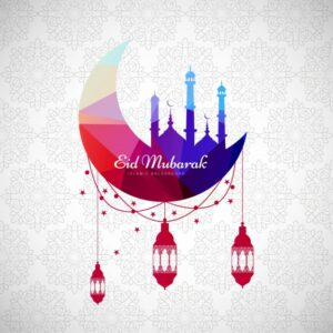 Abstract colorful eid mubarak background Free Vector