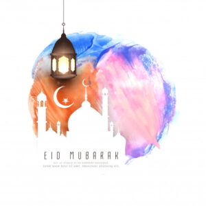Abstract eid mubarak watercolor background illustration Free Vector