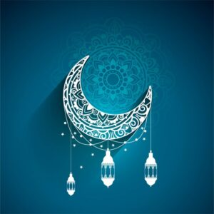 Blue design for eid mubarak Free Vector