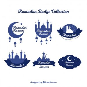 Collection of blue ramadan labels Free Vector