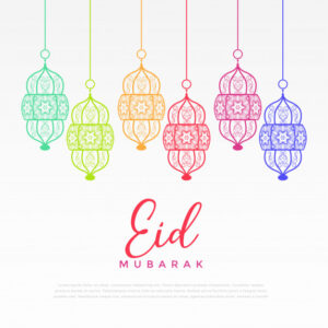 Colorful hanging lantern for eid festival Free Vector