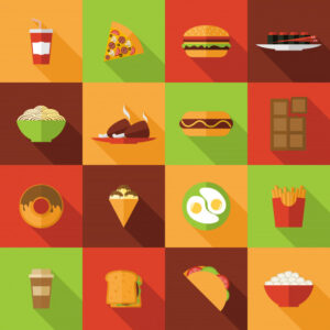 Fast food icons set Free Vector