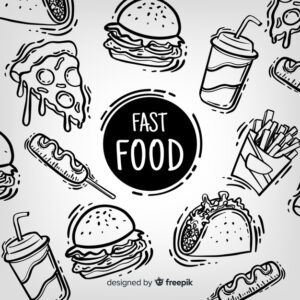 Hand drawn fast food background Free Vector