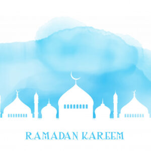 Ramadan kareem background with mosque silhouette on watercolour texture Free Vector