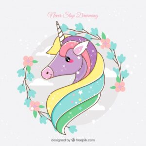 Hand drawn lovely unicorn face Free Vector