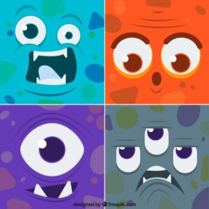 Set of funny faces colored monsters Free Vector