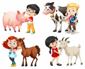 Boys and girls with farm animals Free Vector