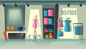 Clothing shop interior – wardrobe with woman clothes, cartoon mannequin and stuff on hangers Free Vector