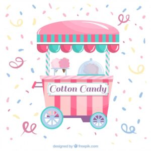 Confetti background with cotton candy trolley Free Vector