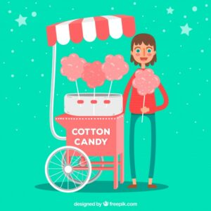 Cotton candy cart and smiley boy Free Vector
