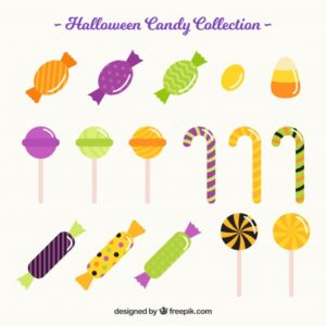 Flat variety of colorful candies Free Vector