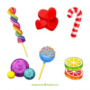 Set of delicious candies in flat style Free Vector