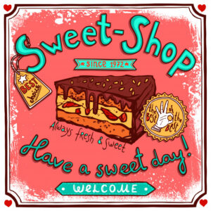 Sweetshop vintage candy poster Free Vector