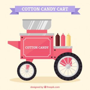 Traditional cotton candy cart Free Vector