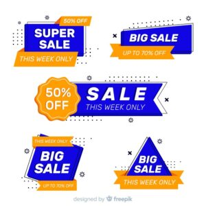 Collection of sales label flat style Free Vector