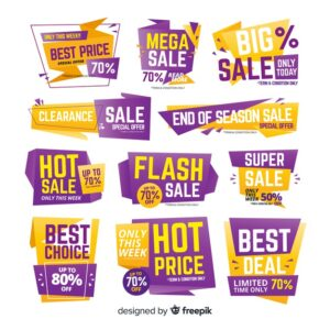 Gradient sale label collection Free Vector