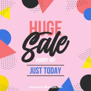 Summer sale background with memphis style Free Vector