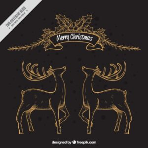 Merry christmas background with deers and floral elements Free Vector