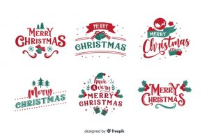 christmas lettering badge white background