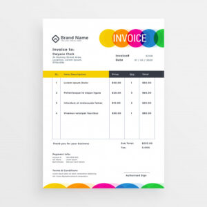 Colorful vector invoice template design Free Vector
