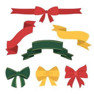 hand drawn collection christmas ribbon