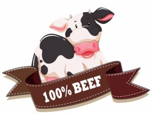 label with cow ribbon