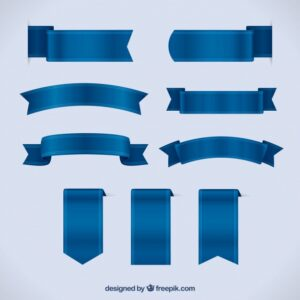 set blue ribbons realistic style