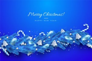 traditional blue tinsel christmas tree background