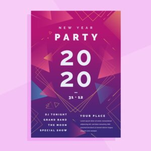 abstract new year 2020 party flyer