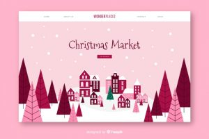 christmas landing page with flat design