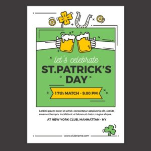 flat st patrick s day flyer poster template