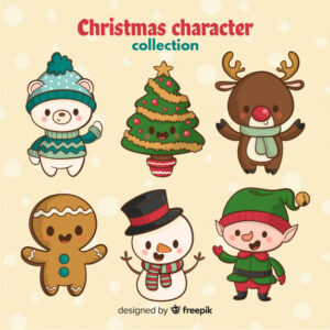 hand drawn cute christmas characte