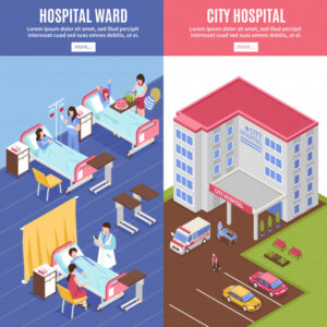hospital vertical banners set